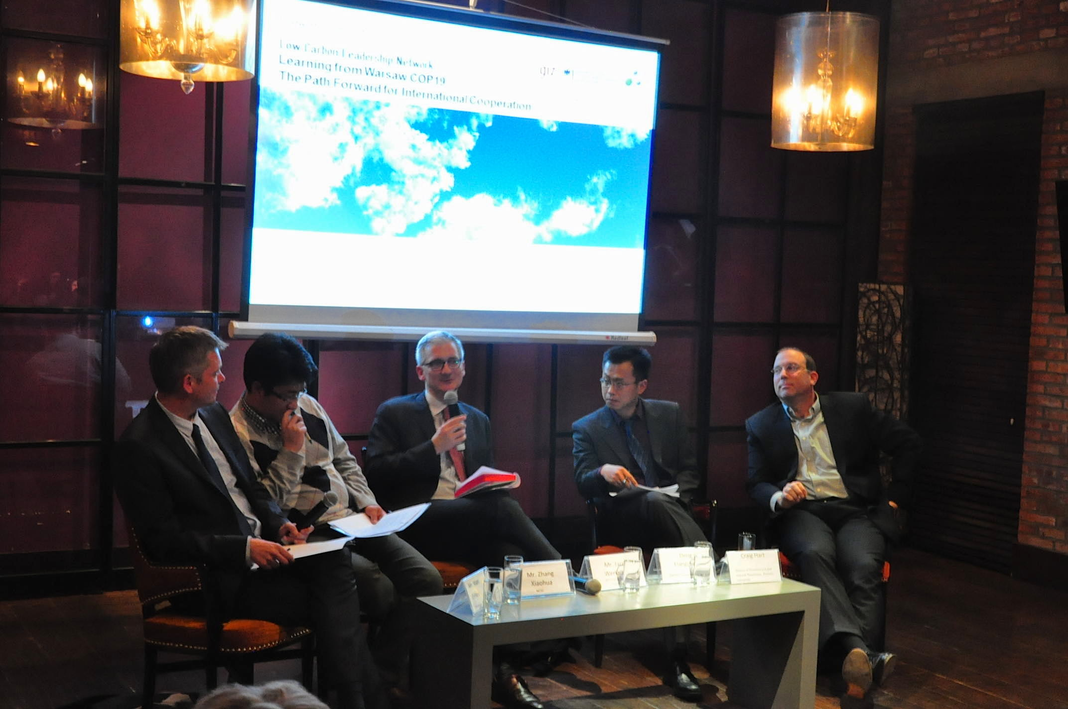 The Panel - From Left: Mr. Stian Reklev (Moderator - Thomson Reuters), Mr. Zhang Xiaohua (National Centre for Climate Change Strategy and International Cooperation), Mr. Jacob Werksman (European Commission), Mr. Deng Liangchun (WWF), Ass. Pr. Craig Hart (Renmin University)