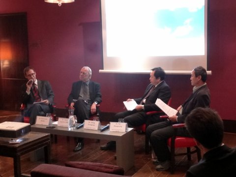 The Panel - From Left: Dr. Sven-Uwe Müller (Moderator - GIZ), Dr. Hans-Joachim Ziesing (Expert Commission to monitor Germany's 'Energiewende'), Mr. Wang Zhongying (Energy Research Institute), Dr. Hu Zhaoguang (State Grid Energy Research Institute)